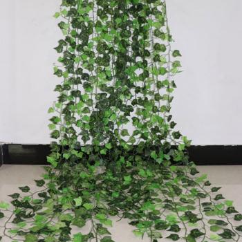 100 sztuk liść 1 sztuka 2 4M Home Decor sztuczny liść bluszczu girlanda roślinna sztuczne pnącze kwiaty Creeper zielony bluszcz wieniec tanie i dobre opinie new Rattan Sztuczne kwiaty Łańcuch z kwiatów Jedwabiu Christmas