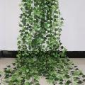 100 шт листьев 1 шт 2,4 м домашний Декор Искусственный гирлянда из листьев плюща растения искусственная Виноградная лоза Листва Цветы Creeper зеле...