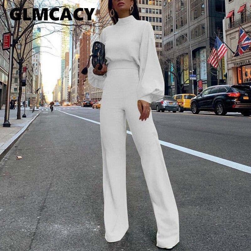 Women Elegant Fashion Slim Fit   Jumpsuits   Solid Skinny Casual Overalls Office Look Work Lantern Sleeve Mock Neck   Jumpsuits