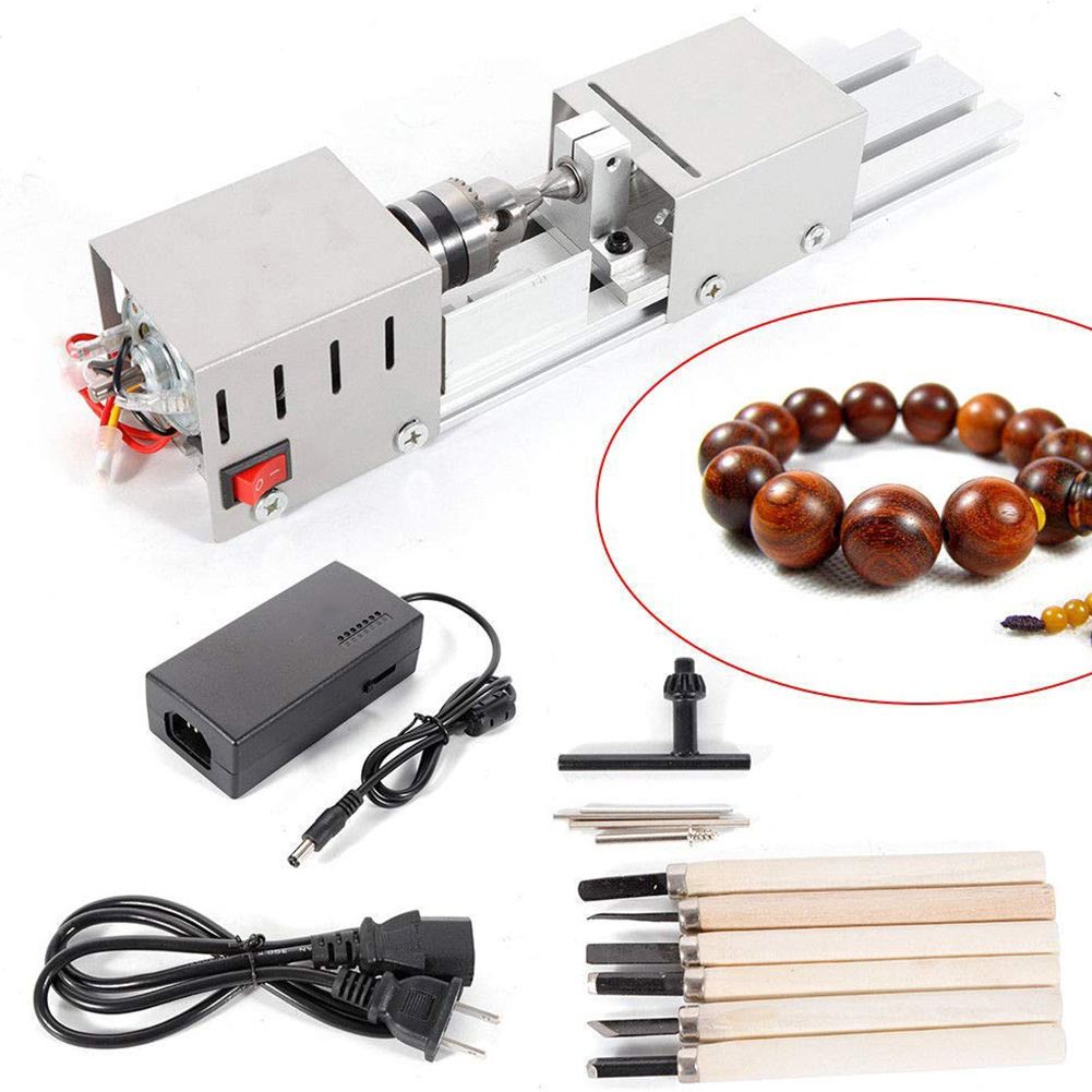 Mini Lathe Beads Polisher Machine Diy Cnc Machining For Table Woodworking Wood Diy Tools Household Rosary Drilling Tool Suit