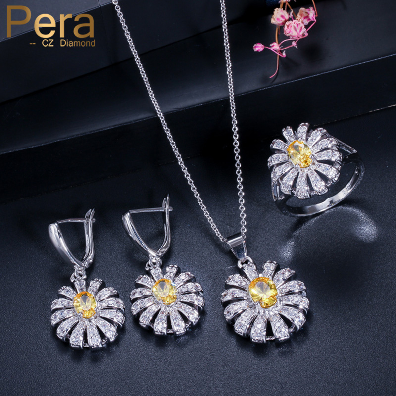Pera 3 Pcs White Gold  CZ Jewelry Sets for Women Big Yellow Stone Sun Cluster Flower Tennis Necklace and Earrings Ring JS189