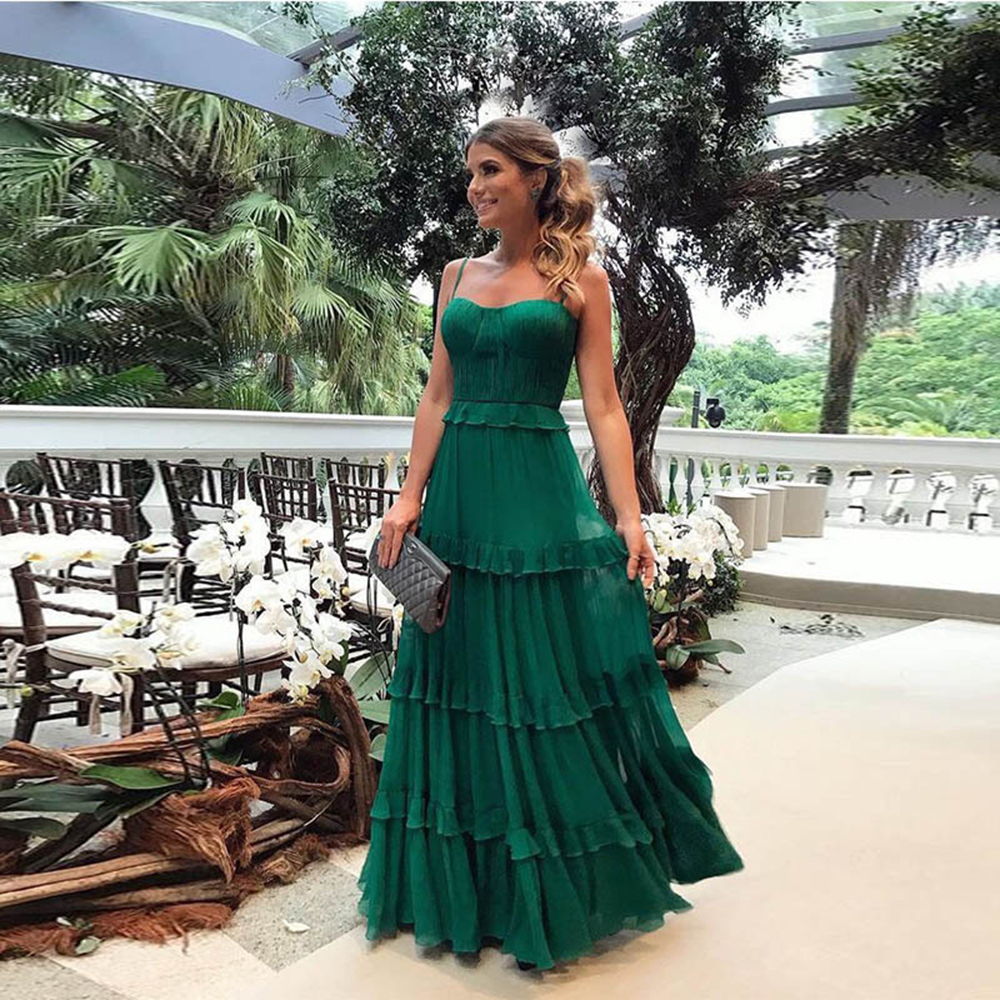 Green Tulle Spaghetti Strap Womens <font><b>Dress</b></font> <font><b>Elegant</b></font> Party Evening Sleeveless <font><b>Sexy</b></font> <font><b>Long</b></font> <font><b>Dresses</b></font> Pleated Ruffles Maxi Summer <font><b>Dress</b></font> image