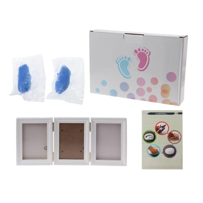 3D Newborns Molds Baby Handprint Footprint Photo Frame For Baby Care Babies Souvenir Casting Newborn Footprint Soft Clay Inkpad