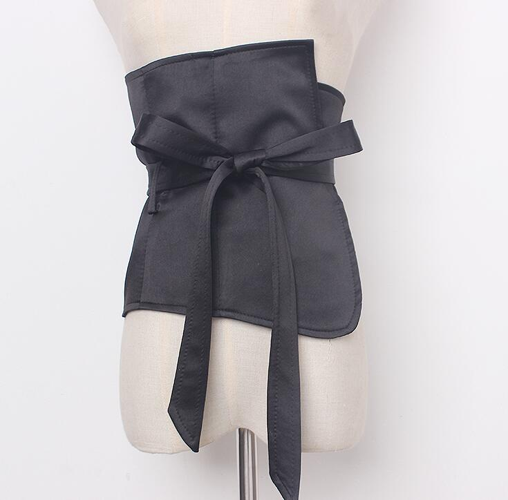 Women's Runway Fashion Big Bow Black Satin Cummerbunds Female Dress Corsets Waistband Belts Decoration Wide Belt R1923