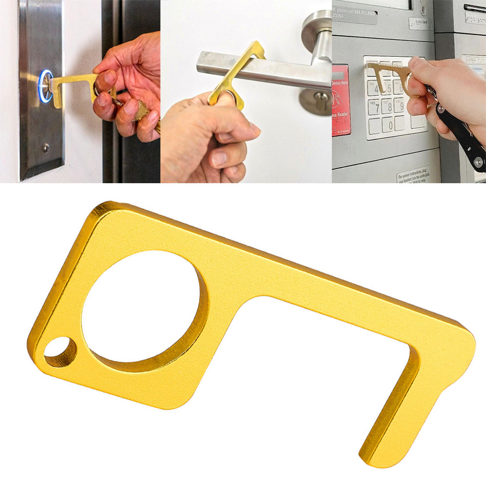 1PC Portable Press Elevator Tool Hygiene Hand Antimicrobial Alloy EDC Door Opener Door Handle Key Metal Portable Door Opener