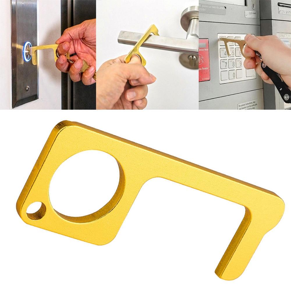 1PC Portable Press Elevator Tool Hygiene Hand Antimicrobial Alloy EDC Door Opener Door Handle Key Metal Portable Door Opener