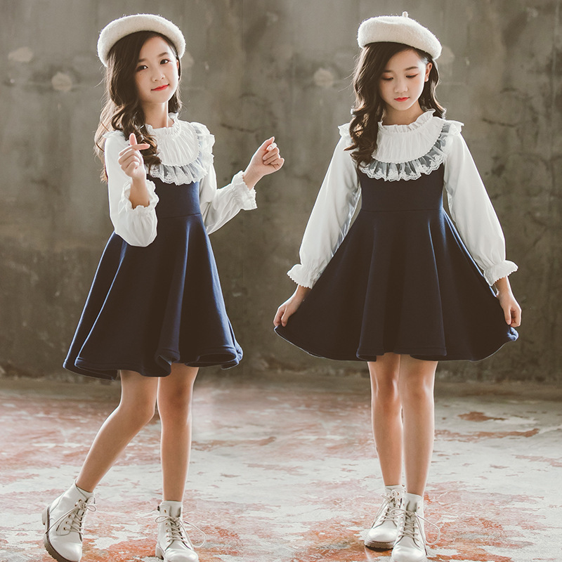 Back To School 2019 New Girls Clothing Dress Baby Casual Dress Kids Patchwork Fall Clothes Children Long Sleeve Dress Blue White 2