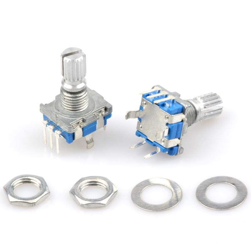 5 pièces/lot codeur rotatif commutateur potentiomètre 5 broches EC11 Audio potentiomètre numérique avec prune poignée longueur 20mm potentiomètres