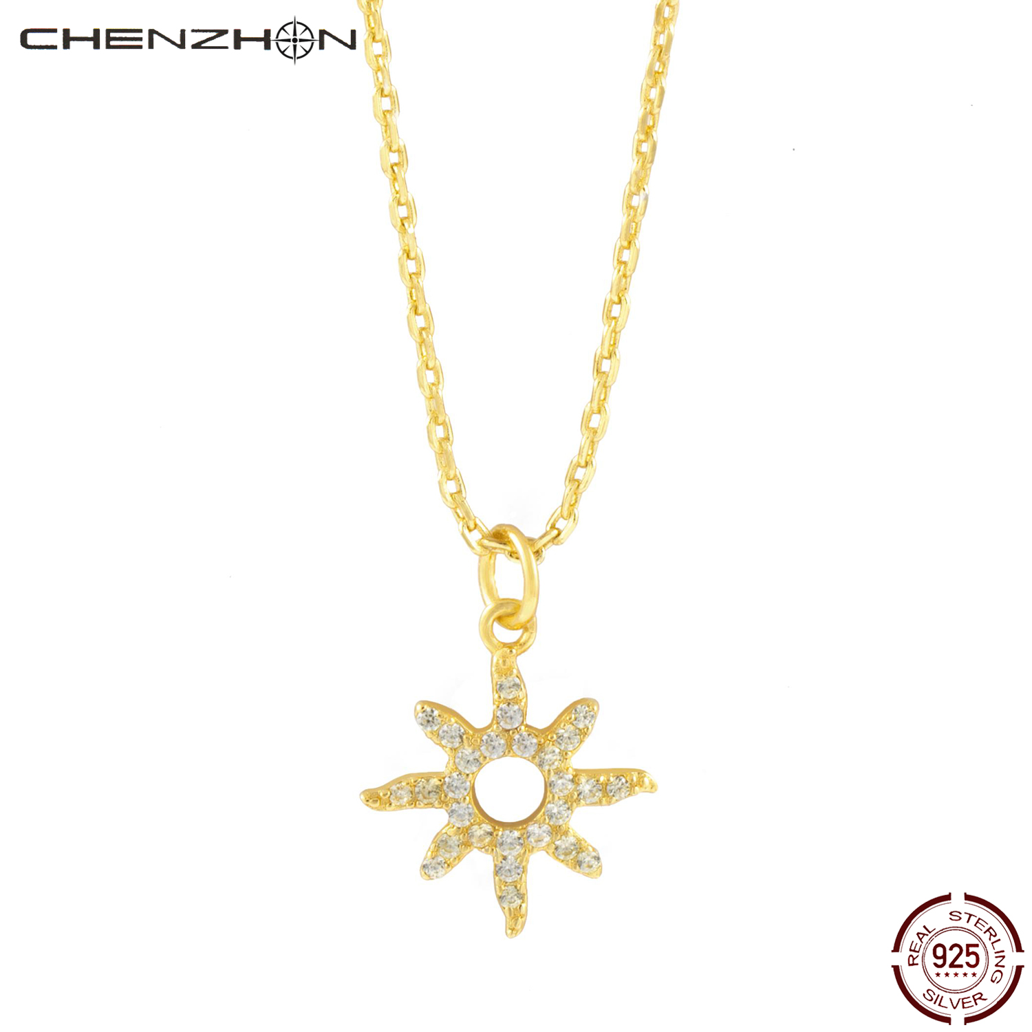 CHENZHON 925 Sterling Silver Charms Star Design Necklaces For Women Choker Chains Gold Color Snowflake Sweet Jewelry 2020 Gift