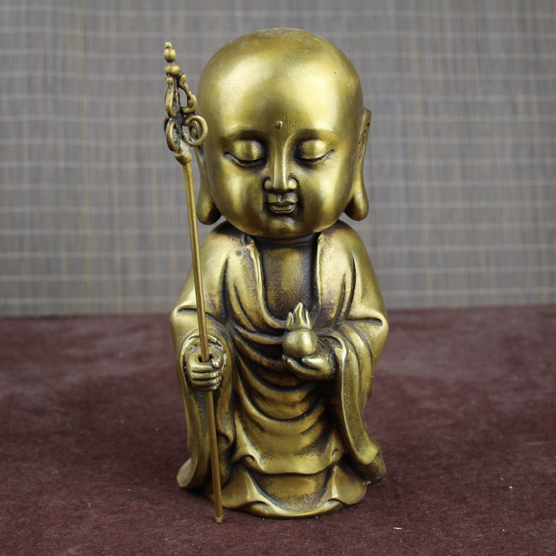 Chinese hand carved antique brass ornaments small sand monk Buddha copper