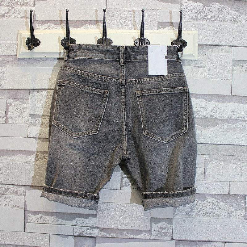 Summer Mens Straight Slim Fit Knee Length Jeans Shorts Casual Denim Streetwear Trousers Vintage Washed Cowboy Beach Shorts 2XL