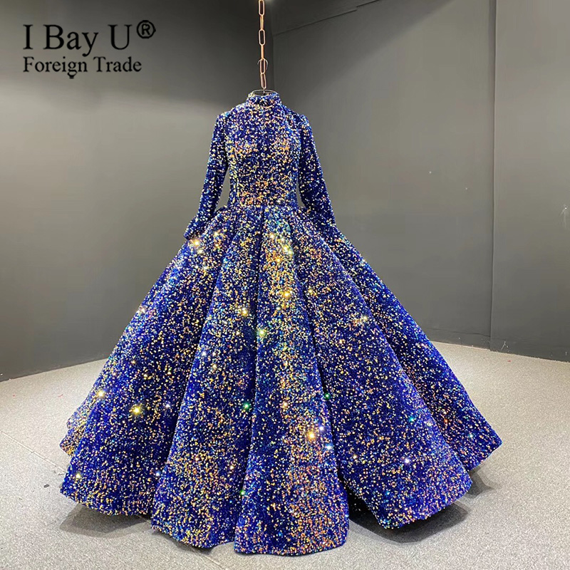 Dubai Sparkle Navy Blue Sequined Luxury Sexy Wedding Dress 2020 Long Sleeves High-end Bridal Gowns Real Photo Small Petticoat