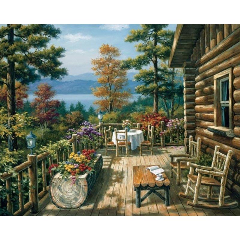 Деревянный дом diy Краска по количеству фоторамки Масляная картина