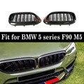 2-рейки углеродного волокна + ABS почек гриль решетка черный глянец для BMW 5 серии F90 M5 2018 +