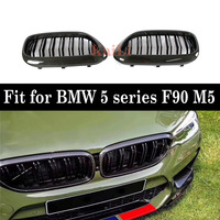 2 Slats Carbon + ABS Kidney Grill Grille Gloss Black For BMW 5 Series F90 M5 2018+