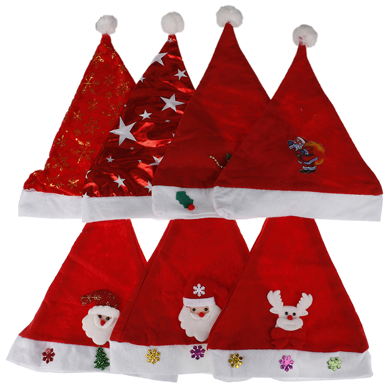 1PC Christmas Ornaments Decoration Christmas Hats Santa Hats Children Boys Girls Cap For Christmas Party Props Toy