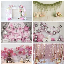 Laeacco Birthday Backdrops Pink Balloons Flowers Stars Fireplace Baby Portrait Photography Backgrounds Newborn Kids Photocall