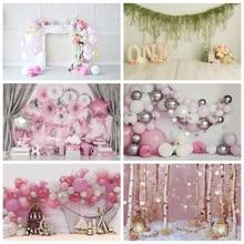 Laeacco aniversário backdrops rosa balões flores estrelas lareira retrato do bebê fotografia fundos recém nascidos crianças photocall