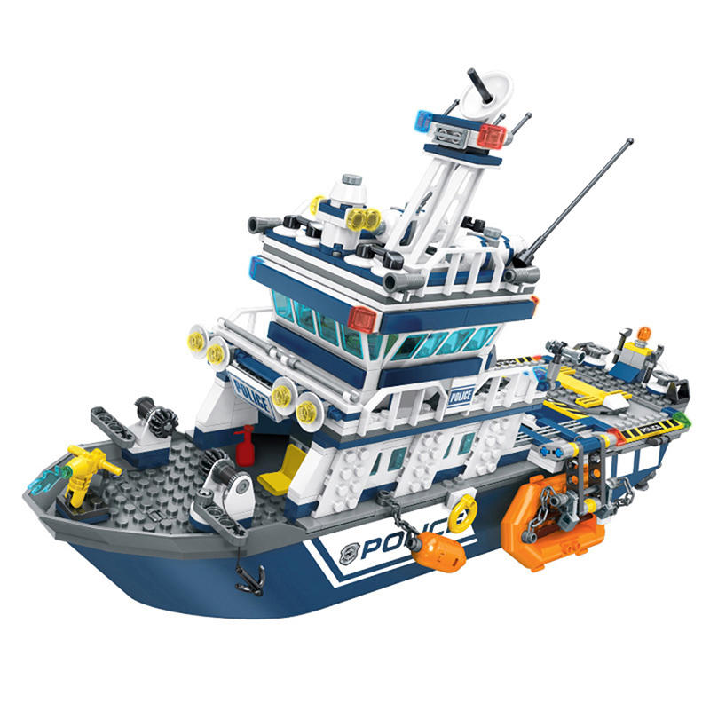 Image 2 - 869+pcs City Police Patrol Boat Helicopter Building Blocks Action Figures Compatible Technic Bricks Toys For ChildrenBlocks   -