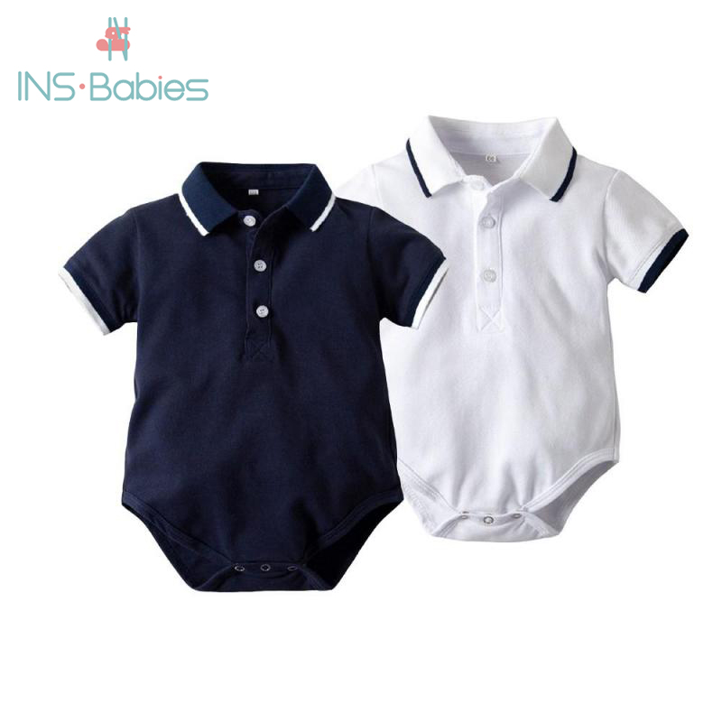 2020 Baby Summer Polo Sports Bodysuits For Baby Boys Short Sleeves Letter Design Fashion Baby Clothes Climbing Gentleman Outfits