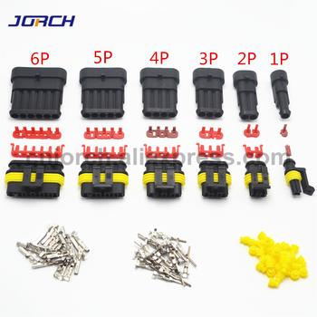 1 zestaw 1 2 3 4 5 6 Pin Way AMP Tyco Super uszczelnione złącze samochodowe wtyczka elektryczna zaciski do samochodów tanie i dobre opinie Jorch AMP connector Black 1 2 3 4 5 6pin PA66 Automotive Lighting Female and Male