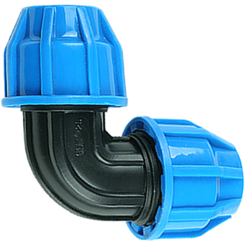 25mm To 20mm Plastic PP Thick Quick Connector Elbow Blue Caps Adapter PE Pipe Fittings For Irrigation