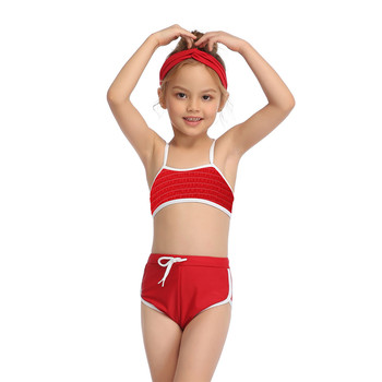 2-14 Years Toddler and Teen Girls Athletic Swimsuits High Neck Front Zipper Sports Crop Top With Boyshorts Kids Bathing Suit - Red, Girl 104 2-3T