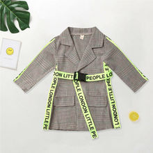Fashion Toddler Kid Baby Girl Coat Winter Autumn Clothes Belted Plaid J