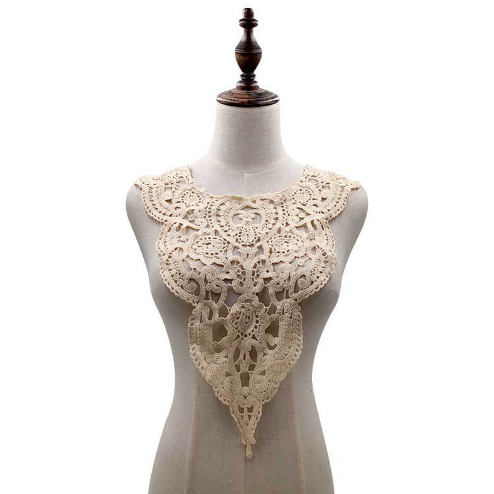 1pcs Embroidered Lace Collar Neckline Applique DIY Handmade Wedding Dress Lace Sewing On Patches Sewing Fabric Accessories