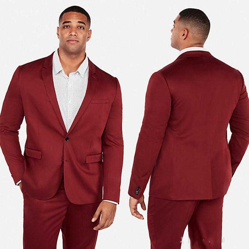 2019 新暗赤色 2 つタキシード男性花婿の付添人スーツ二枚格安ウエディングフォーマルスーツ (ジャケット + パンツ)