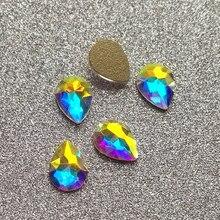 Yanruo 20 pçs ab cristal plana volta pêra gota strass diamante decoração da arte do prego diy 3d jóias do prego gel acessórios