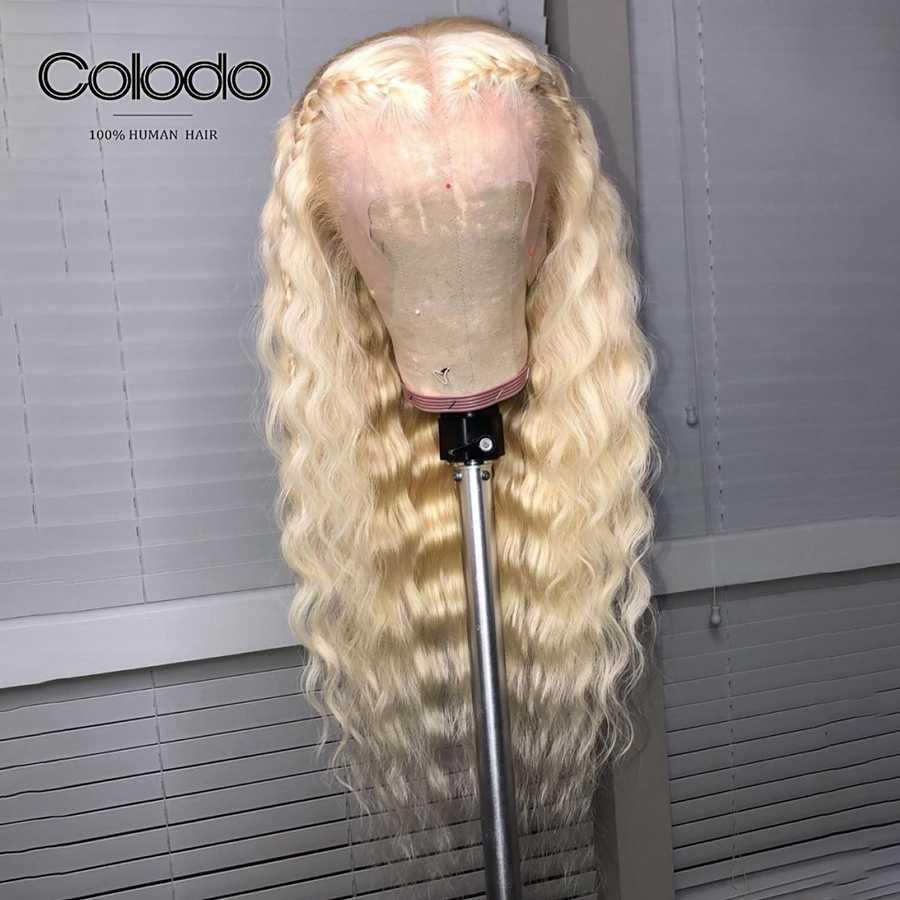 COLODO Brasileiro Cabelo Remy Pré Arrancou Com o Cabelo Do Bebê Cheia Do Laço Perucas de Cabelo Humano Sem Cola 613 Peruca Solta Rendas Profundo peruca Para As Mulheres