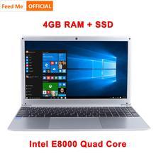 Ноутбук 15,6 дюймов 1080P с ОС Windows 10 Intel E8000, четырехъядерный процессор, 4 Гб ОЗУ, 64 ГБ, 128 ГБ, 256 Гб SSD, ноутбук с клавиатурой полной раскладки
