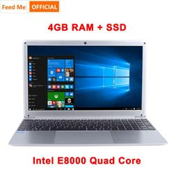 15.6 Inch 1080P Laptop Windows 10 Intel E8000 Quad Core 4GB RAM 64GB 128GB 256GB SSD Notebook with Full Layout Keyboard