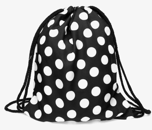 1 Piece Black And White Polka Dot Shit Wifi Drawstring Backpack Students School Bagpack Mochila Feminina Sack Bag