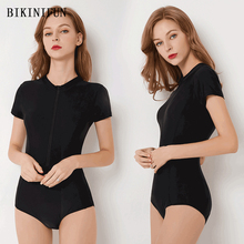 New Solid Black Rash Guards Women Swimsuit Short Sleeve Swimwear Front Zipper One Piece Suit S-2XL Girl Surfing Monokini