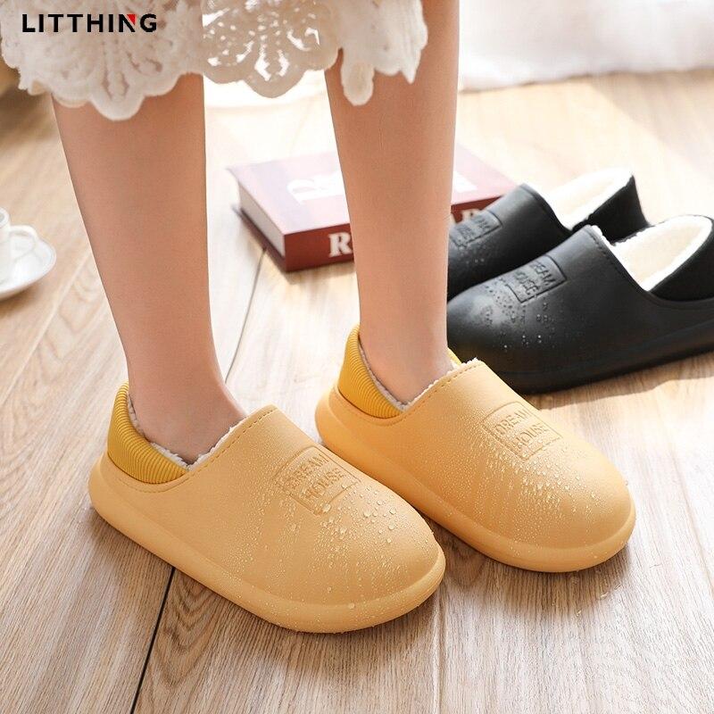 LITTHING 2020 Водонепроницаемые зимние хлопковые тапочки; Женская домашняя теплая женская обувь; Домашняя кожаная обувь с хлопком|Тапочки|   | АлиЭкспресс
