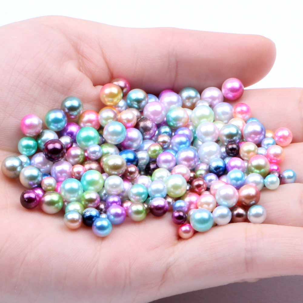 Mixed Sizes 3//4//5//6mm 500pcs No Hole Round Pearls RainBow Color Nail Decorations