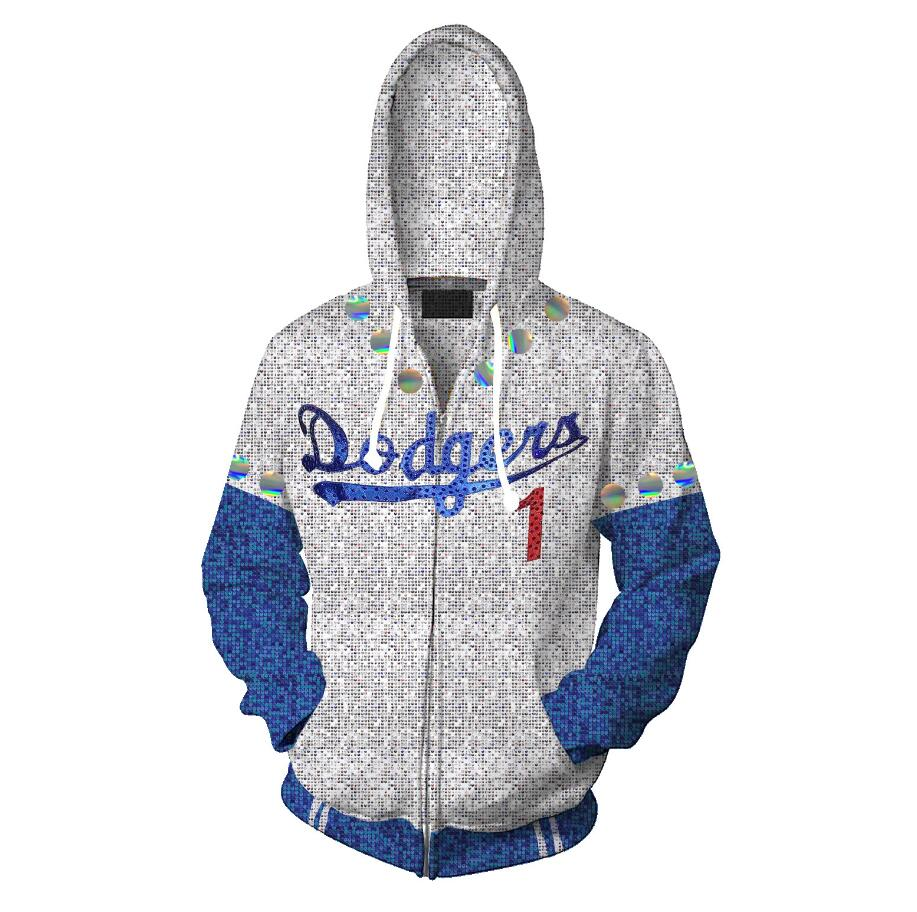 New Rocketman Elton John Dodgers Hoodie Baseball Team Uniform Cosplay Costume Zipper Hooded Sweatshirt