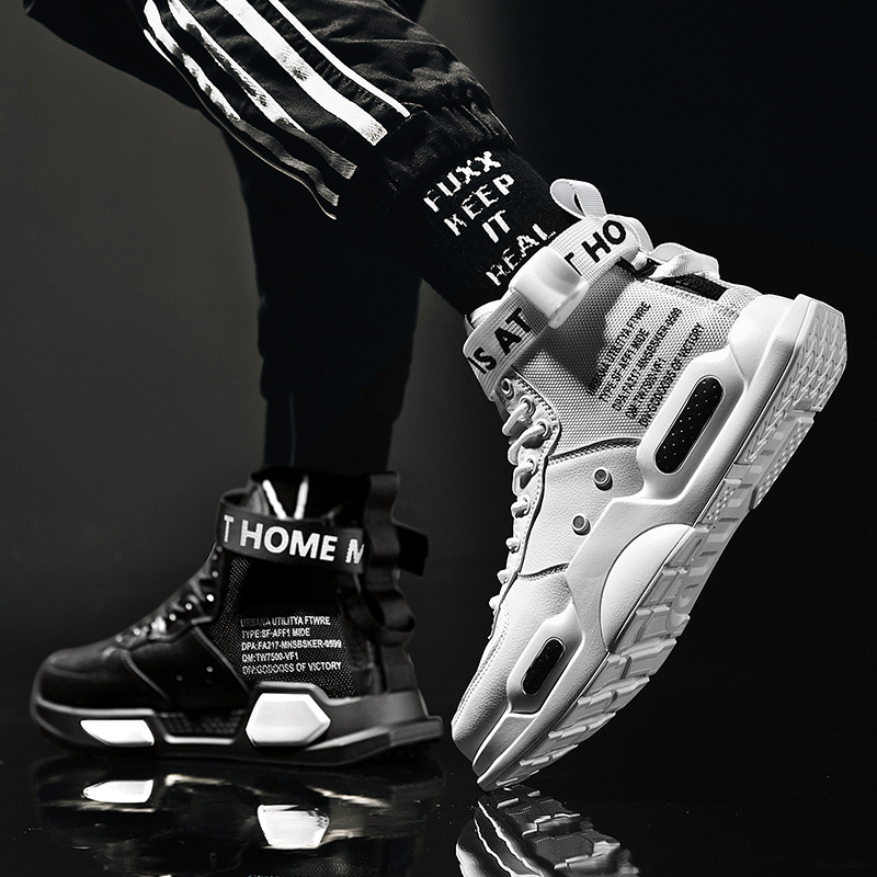 Men's High Top Fashion Leather Sport Sneakers Man Trend Comfortable Running Shoes Outdoor Non-slip Breathable Men Shoes