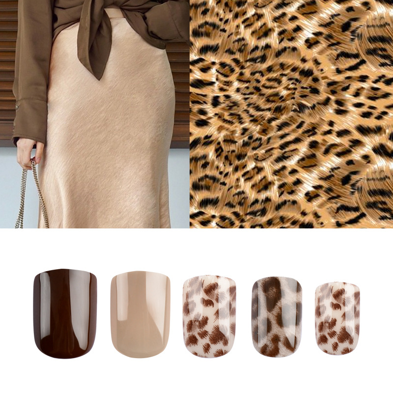 BW05 Leopord Pattern Manicure Nail Sticker Japanese Style Online Celebrity 30 Pieces Wear Nail Tip Fake Nails Finished Product D
