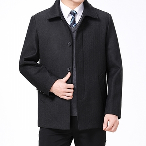 Image 2 - Mu Yuan Yang Wool Coat For Men Casual Woolen Coats Male Clothing Mens Jackets Single Breasted Overcoat 4XL Plus Size