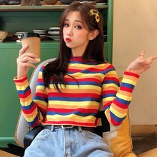 Women Fashion Casual Sweaters Female Korean Harajuku Vintage Loose Striped Sweater Japanese Kawaii Ulzzang Clothing female korean harajuku hong kong flavored loose rainbow stripe sweater women s pullover sweaters