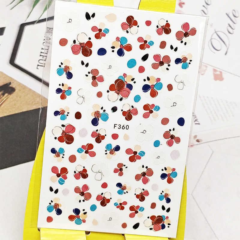 3D tırnak etiket çıkartmaları renkli çiçek tasarım Nail Art süslemeleri çıkartmalar kaydırıcılar manikür aksesuarları çivi Decoraciones