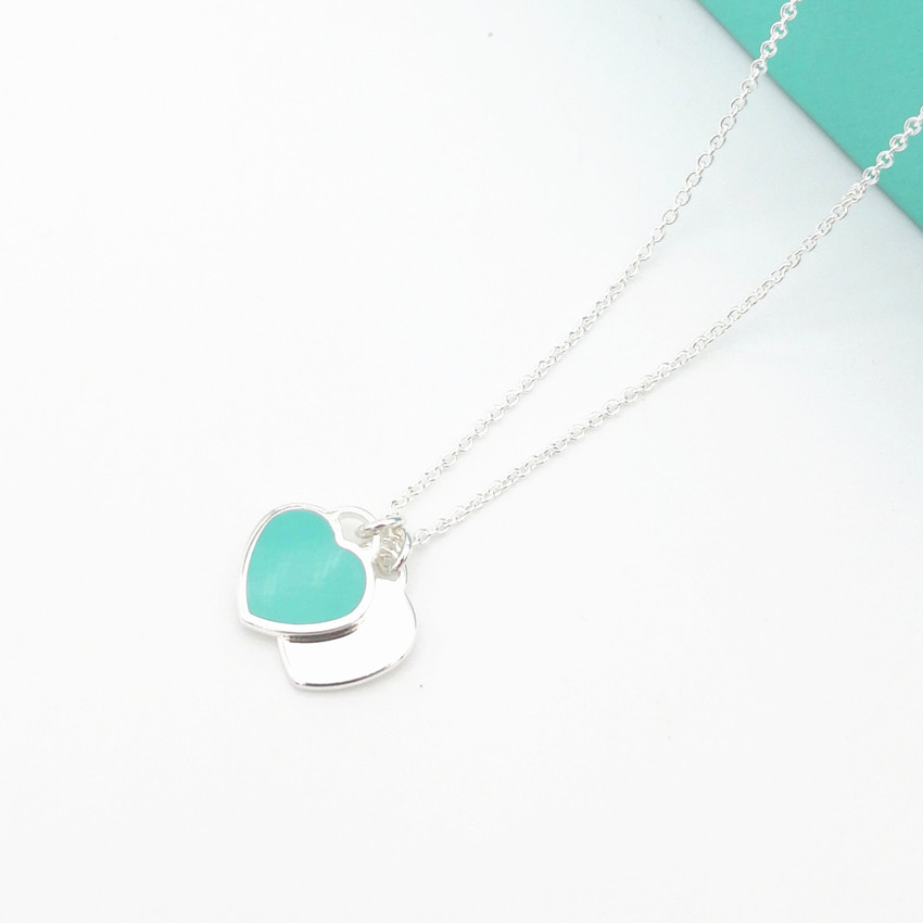S925 pure silver double heart tags enamel heart lady clavicle necklace girl fashion valentine's day gift