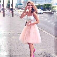 5 kat 60cm Midi tül etek prenses bayan yetişkin Tutu moda giyim Faldas Saia Femininas Jupe yaz tarzı