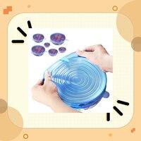 6 Pcs לשימוש חוזר סיליקון מזון סיר מכסה קערת מכסה גלישת Stretchable חומר משמר סרט-בכיסויים למזון מתוך בית וגן באתר