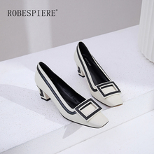 ROBESPIERE Pop Party Dress Women Pumps Fashion Striped Mixed Color Shallow Genuine Leather Shoes Square Toe Med Heels Pumps A17 vinlle 2017 woman pumps spring shoes mixed color square med heel slip on women shoes genuine leather wedding pumps size 34 39