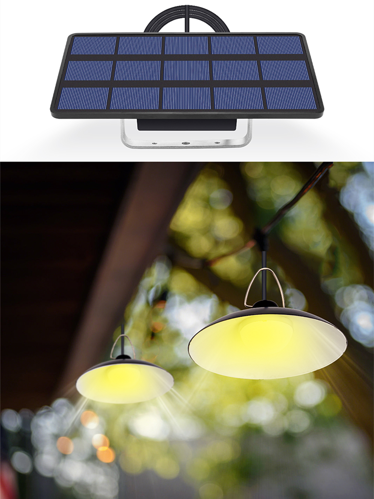 Solar-Light Double-Head Garden-Chandelider Outdoor LED on with Cord