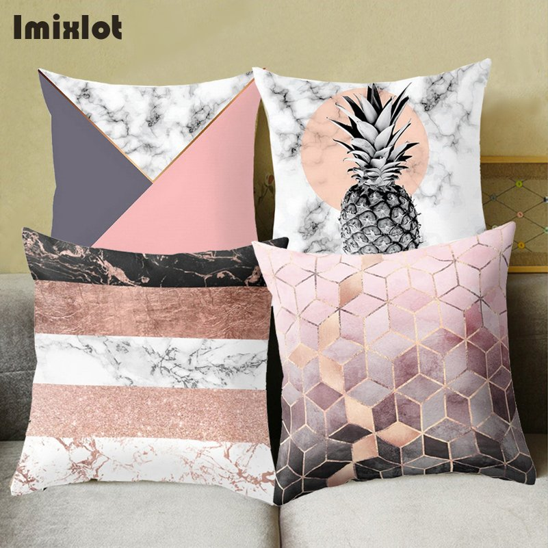 Brief Wave Geometric Cushion Covers Marble Pineapple Throw Pillow Cover Polyester Cushion Case Sofa Bed Decorative Pillowcase Cushion Cover Aliexpress